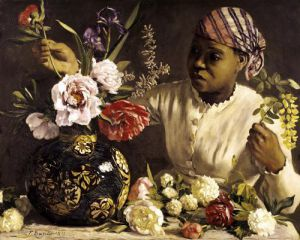 Negress with Peonies 1870 by Jean Frederic Bazille
