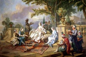 The Sultana Served by her Eunuchs by Charles-Amedee-Philippe van Loo