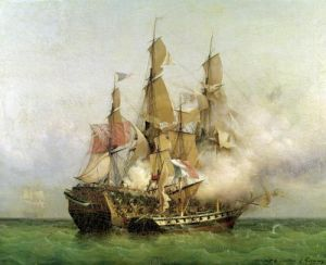 The Taking of the 'Kent' by Robert Surcouf 1850 by Ambroise-Louis Garneray