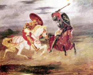 Two Knights Fighting in a Landscape c.1824 by Eugene Delacroix