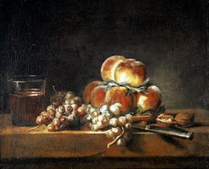Still Life of Peaches Nuts Grapes and a Glass of Wine 1758 by Jean Baptiste Chardin