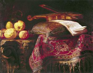 Still Life of Fruit and Musical Instruments by Antonio Pereda y Salgado