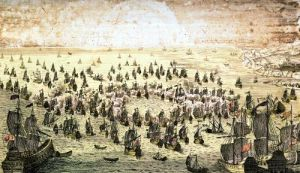Siege of Mahon 1756 by French School