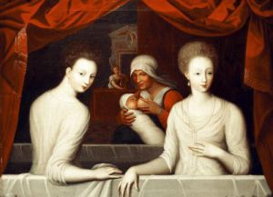 Gabrielle d'Estrees and her sister the Duchess of Villars by Fontainebleau School