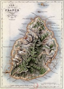 Map of Mauritius illustration from 'Paul et Virginie' by Dufour