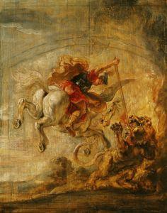 Bellerophon Riding Pegasus Fighting the Chimaera 1635 by Peter Paul Rubens