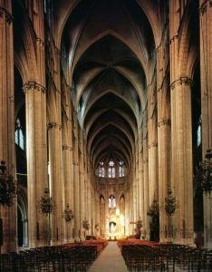 View of the nave 1225 by French School