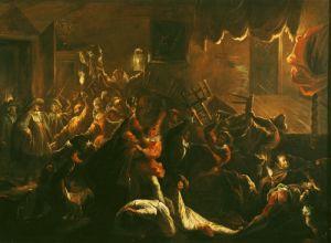 La Tripotiere's Distress at her Broken Furniture 1712 by Jean de Coulom