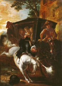 With a Musket on his Back Ragotin Climbs onto his Horse 1712 by Jean de Coulom