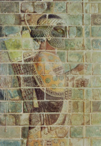 Detail of an archer from a frieze by Persian School