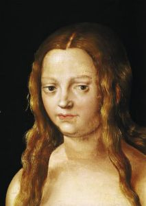 Adam and Eve detail of Eve's head by Lucas Cranach