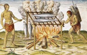 Cooking Fish from 'Admiranda Narratio...' by John White
