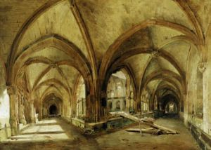 The Cloisters of St. Wandrille c.1825 by Louis Eugene Gabriel Isabey