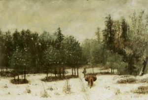Entrance to the Forest in Winter. Snow Effect 1873 by Cherubino Pata