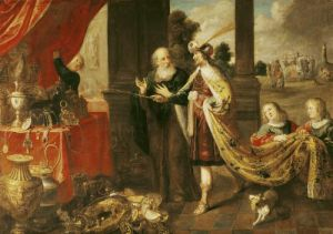 Ahasuerus Showing his Treasure to Mordecai by Claude Vignon