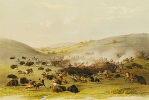 Buffalo Hunt Surround c.1832 by George Catlin