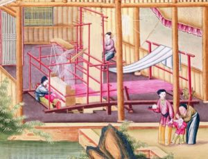 Weaving from a book on the silk industry by China