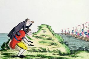 William Pitt the Younger riding on the back of George III by French School