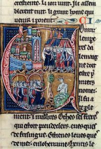 Historiated initial 'C' depicting Conrad III Emperor of Germany and Louis VII King of France by French School
