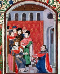 Jean de Meung offering his translation to Philippe le Bel by French School