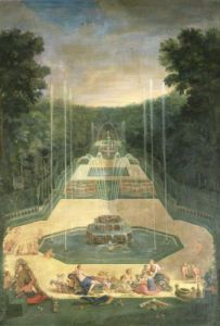 The Groves of Versailles. View of the Three Fountains with Venus and Cherubs 1688 by Jean Cotelle the Younger