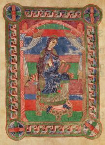 St. Radegund on a throne from the 'Life of St. Radegund' by French School