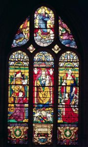 Window depicting the Virgin and Child surrounded by St. Adrian by Arnoult de Nimegue
