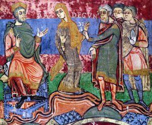 St. Radegund led before Clothar I from the 'Life of St. Radegund' by French School