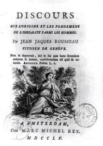 Frontispiece to 'Discours sur l'Origine et les Fondements de l'Inegalite Parmi les Hommes' by French School