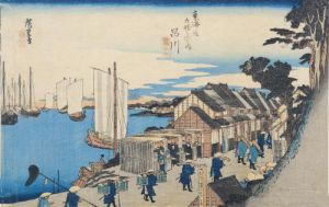 Shinagawa - departure of a Daimyo 1834 by Ando Hiroshige