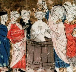St. Remigius Bishop of Rheims baptising and annointing Clovis I by French School