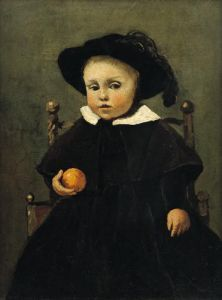 The Painter Adolphe Desbrochers as a Child Holding an Orange by Jean-Baptiste-Camille Corot