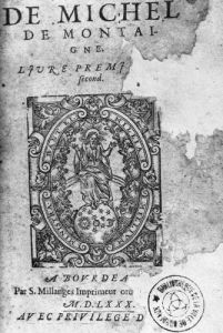 Titlepage of the first edition of 'Essais' by French School