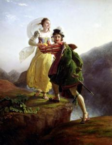 Bianca Cappello Fleeing with her lover Francesco de Medici by Louis Ducis