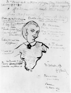 Portrait of Jeanne Duval with notes by Auguste Poulet-Malassis by Charles Pierre Baudelaire