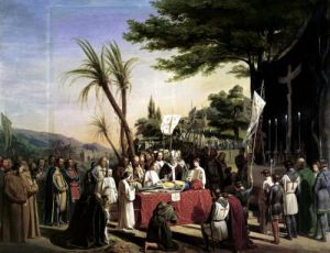 Funeral of Godfrey of Bouillon in Jerusalem 1838 by Edouard Francois Berthelemy Michel Cibot