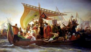 The Crossing of the Bosphorus by Godfrey of Bouillon 1854 by Emile Signol