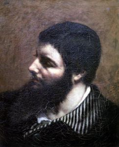 Self Portrait with Striped Collar by Gustave Courbet