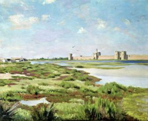 The City Walls of Aigues-Mortes 1867 by Jean Frederic Bazille