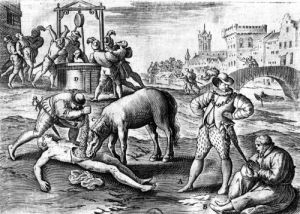 The Horrible Cruelty of the Huguenots in France by French School