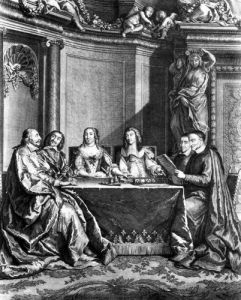 St. Vincent de Paul and Cardinal Jules Mazarin at the Conseil de Conscience of Louis XIV by French School