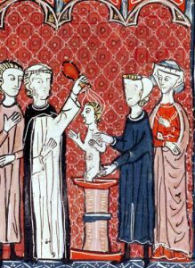 A Baptism Scene from 'Decrets de Gratien' by French School