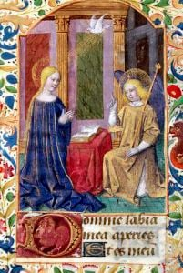 The Annunciation from 'Heures d l'Usage de Rome' c.1465 by Jean Fouquet