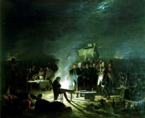 Bivouac of Napoleon I on the Battlefield of the Battle of Wagram by Adolphe Roehn