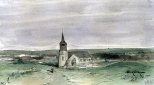 Church and Village in the Middle of a Field Montigny 1866 by Louis Adolphe Hervier