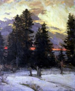 Sunset over a Winter Landscape c.1902 by Abram Efimovich Arkhipov