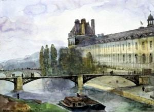 View of the Pavillon de Flore of the Louvre 1844 by Francois-Marius Granet