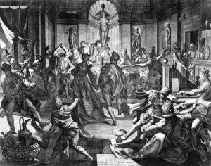 Celebration Scene 1588 by Johann Sadeler