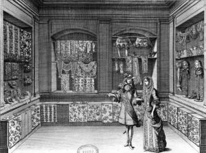 The Shop of Galanteries illustration from 'Recueil d'ornements' by Jean Berain II