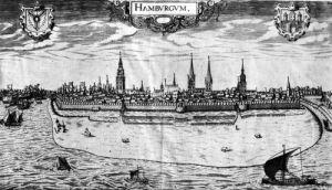 View of Hamburg by Peter van der Doort